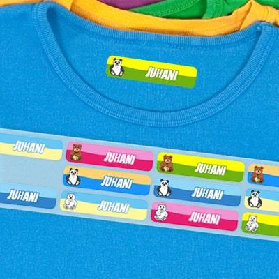 Värilliset nimilaput vaatteisiin